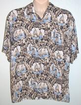 Campia Moda Mens Hawaiian Shirt XL Sailboat Tropical Flower Aloha Camp Blue Tan - $13.85