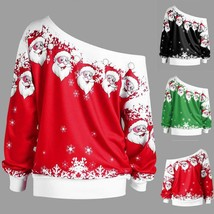 Women Jumper Ugly Christmas Sweater Pullover Tops Coat Off Shoulder Wint... - $12.99