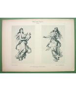 ART NOUVEAU Dekorative Vorbilder Print  - Muses of Art Music Paying Viol... - $30.60