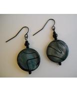 Blue Green Striped Shell Earrings Handmade Beaded Dangle Gun Metal Pierc... - $24.00