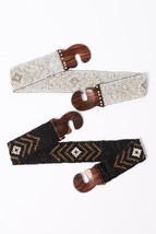 Women's Boho Tribal Pattern Stretchy Bead Wood Buckle Belt - $27.00