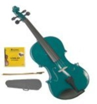 Crystalcello 1/32 Size Green Violin with Case, Bow, Rosin+Extra Set of Strings - $39.99