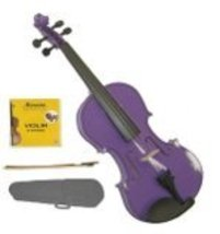 Crystalcello 1/32 Size Purple Violin with Case, Bow, Rosin+Extra Set of Strings - $39.99