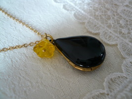 Black Teardrop Yellow Flower Locket Necklace - $22.50