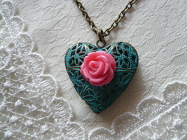 Pink Rose Teal Filigree Heart Locket Necklace - $24.00