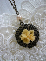 AUTUMN Flower & Pearl Filigree Locket Necklace - $26.00