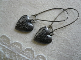 Flower Heart Locket Gunmetal Earrings  - $13.00