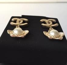 AUTHENTIC Chanel CC Logo Gold Pearl CLASSIC Dangle Earrings NIB STUD  image 2