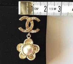 AUTHENTIC Chanel CC Logo Gold Pearl CLASSIC Dangle Earrings NIB STUD  image 6
