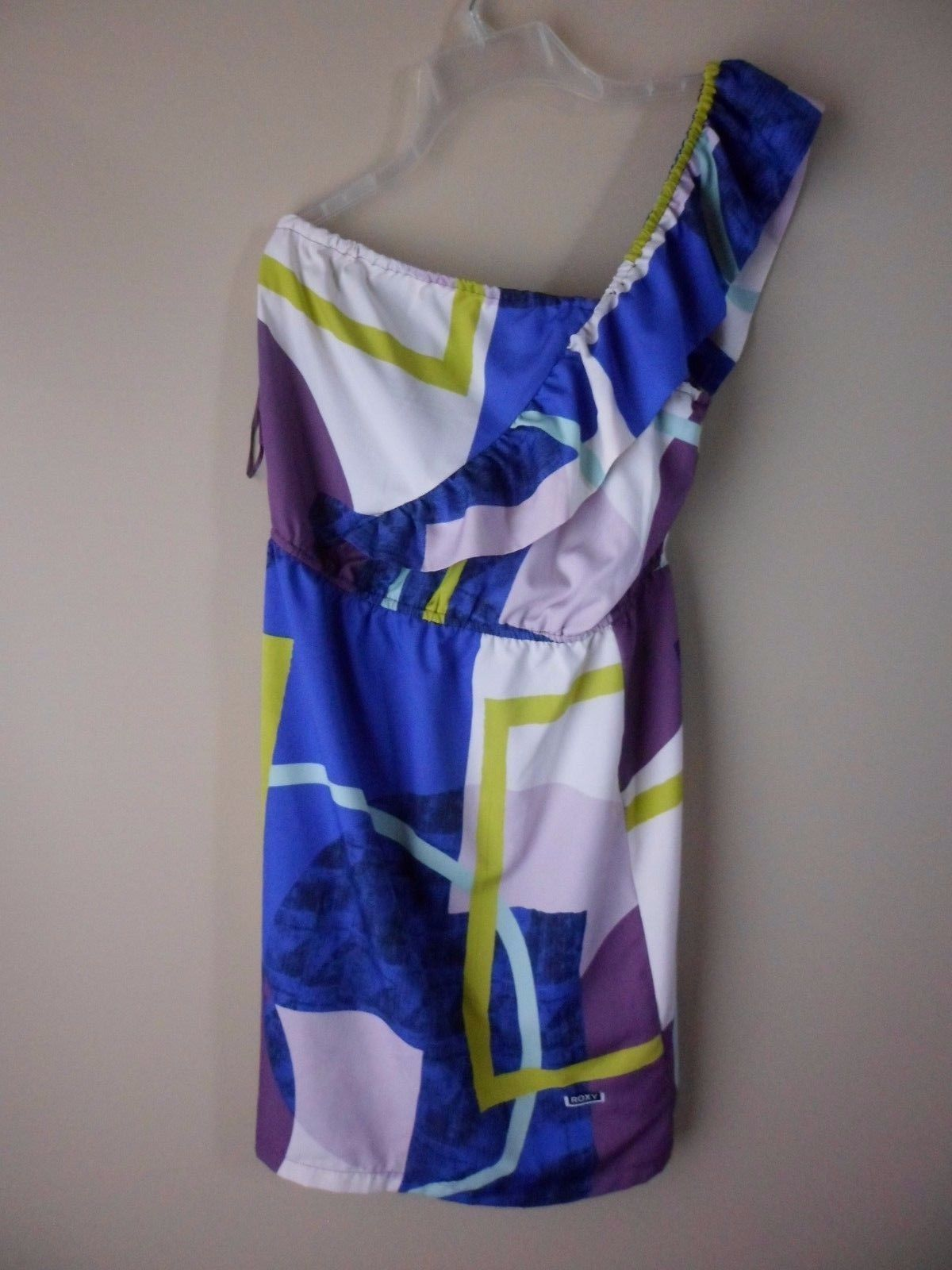 375cf6eb7f Roxy Dress Blue Purple White Size Medium Geometric Print Ruffle One Shoulder