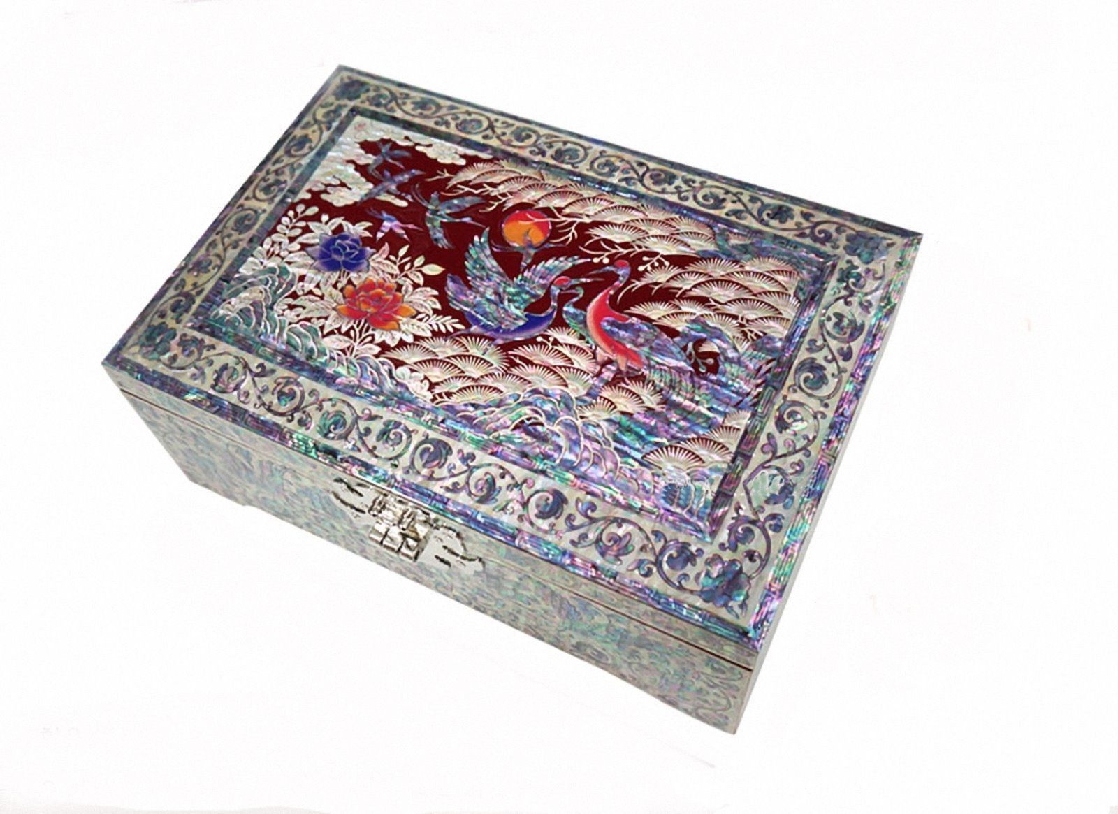 Mother of pearl trinket jewelry box jewel case organizer crane &pinetree red