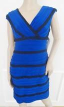 Nwt Adrianna Papell Cocktail Party Bandage Sheath Lace Dress Sz 6 P Petites Blue - $69.25