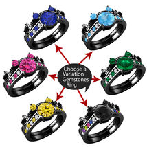 Black Gold Plated .925 Sterling Silver Multi-Stone Mickey Mouse Bridal Ring Set - $299.98