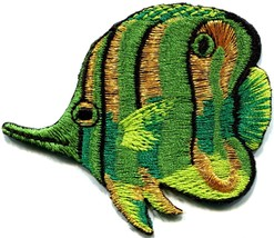 Angelfish fish green applique iron-on patch new S-224 - $2.95