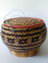 Thai Kratip Sticky Rice Sedge Grass Basket For Food Container Handmade - $17.99