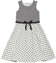 Big Girls Tween 7-16 Black White Dots Mitered Stripes Fit and Flare Dress
