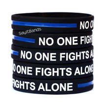 Fifty (50) No One Fights Alone Thin Blue Line Wristbands - Show Police Support - $28.88