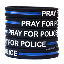 Ten (10) Pray For Police Thin Blue Line Wristband - Show Police Support - $12.88