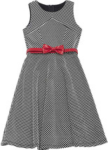Big Girls Tween 7-16 Black White Belted Dots Stripes Panel Fit and Flare Dress