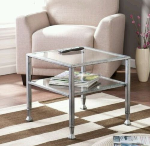 Gass Cocktail Table Square Metal Two Tier  Modern Coffee Top End Living Room Set