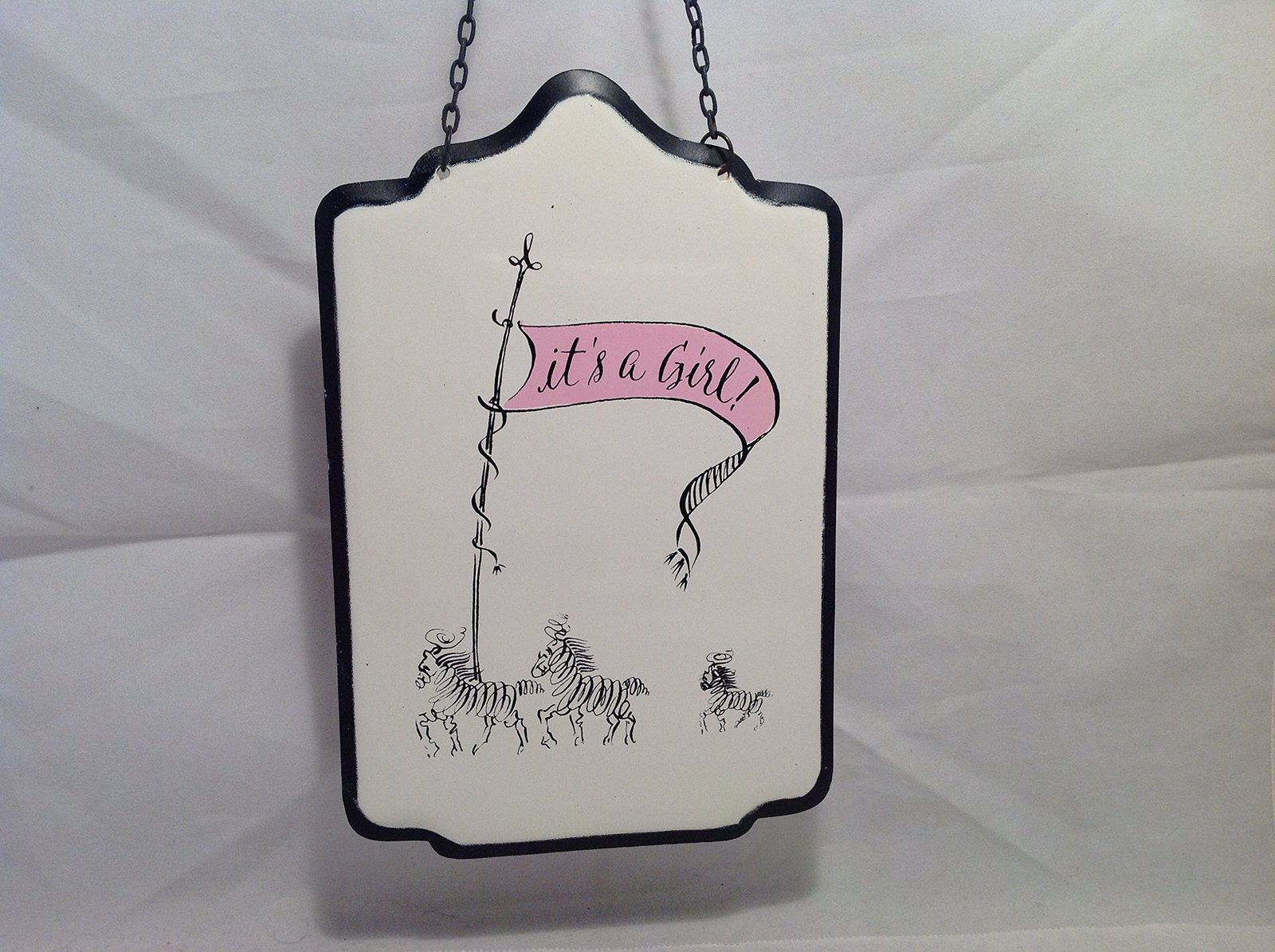 New Baby It's A Boy OR Girl Enameled Metal Wall Sign (Pink)