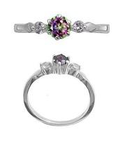 Sterling Silver ring size 5 CZ Round cut Rainbow Mystic Topaz Midi New m01 - $9.73