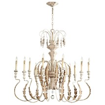 "49"" Horchow  Aidan Gray Look Iron Gold & Crystal French Motivo Medium Chandelier - $1,014.75"