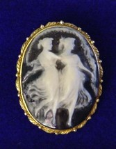 Vintage Dancing Duette Cameo Brooch Pin Ladies Nymphs Figural Mixed Mate... - $29.95