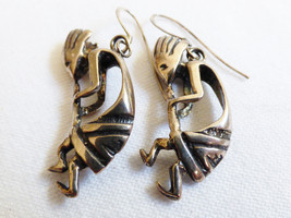 STERLING SILVER 925 KOKOPELLI DANCER CHARMING EARRINGS - $44.55