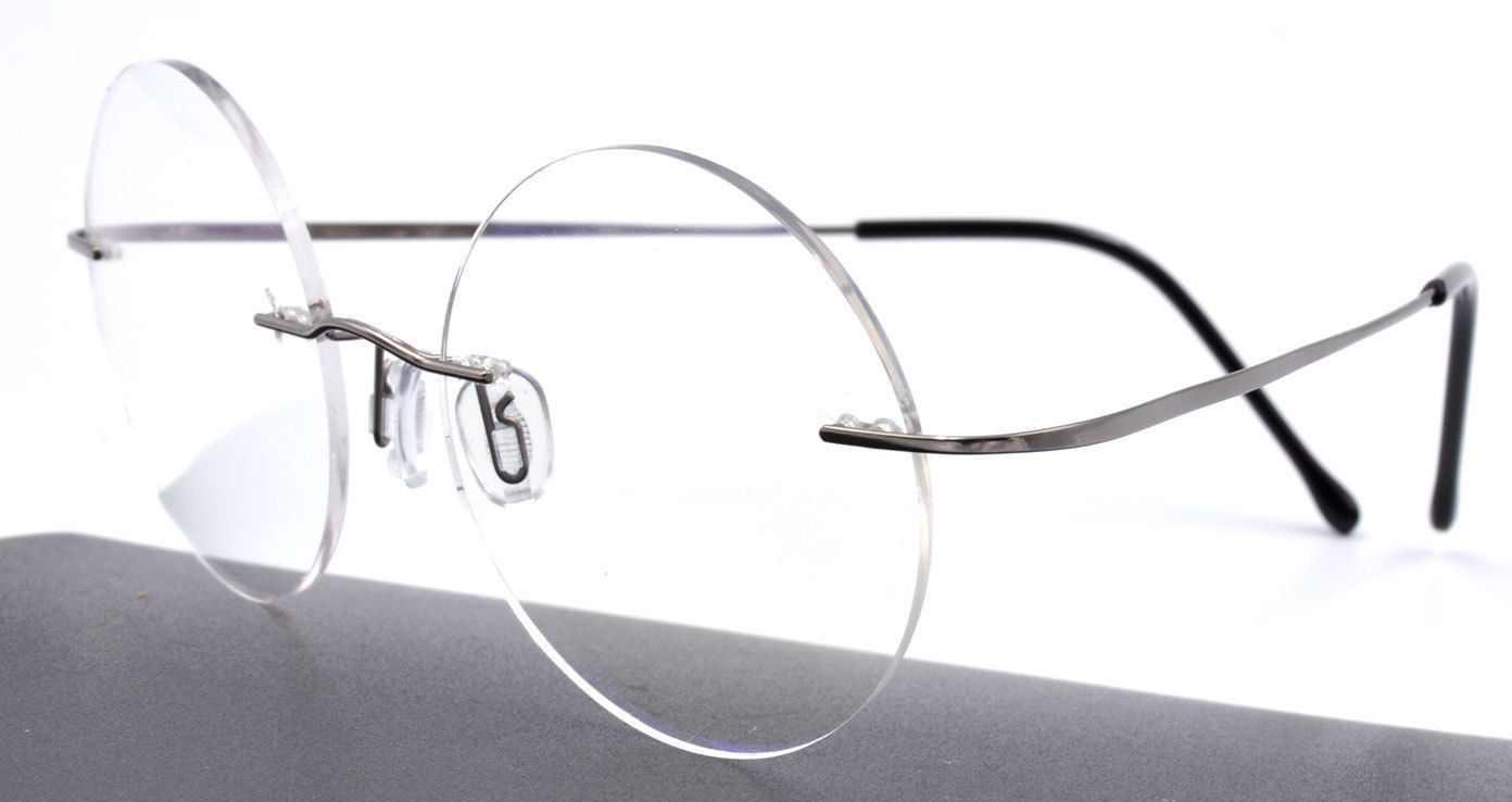 Rimless Glasses Durability : Luxury Vintage 100% Round Titanium Rimless Reading Glasses ...