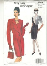 Vogue 8563 Misses Dress Semi-fitted Sewing Pattern 12-16 - $12.86
