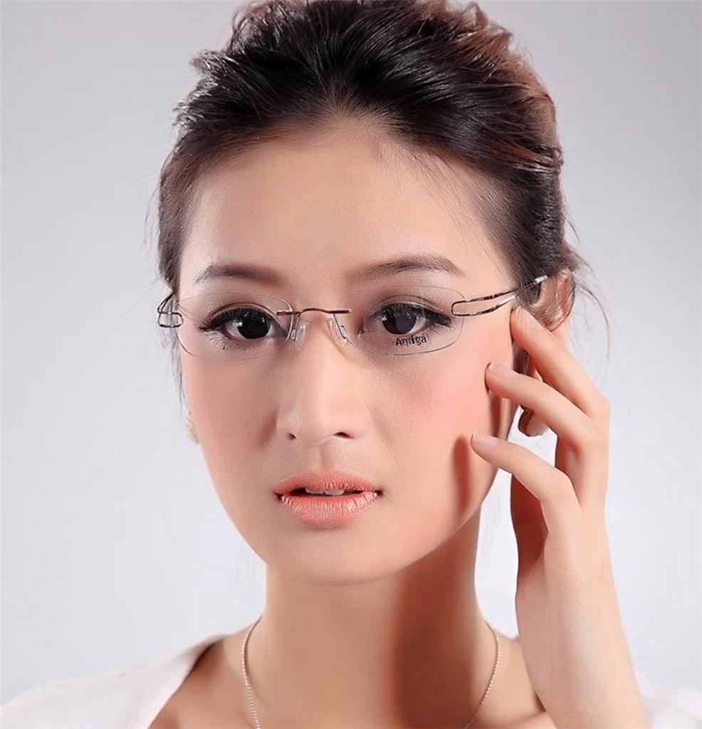 Rimless Glasses Look Good : Designer Womens Rimless Titanium Glasses Frames Eyeglasses ...