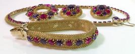 Vintage Weiss Grande Parure Rhinestone Necklace Bracelet Earring Brooch - €119,55 EUR
