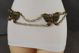 New Women Fashion Rusty Gold Metal Chains Fashion Belt Brown Butterfly B... - $15.67