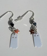 Ghost and Black Crystal Earrings Hand Made In USA - $19.99