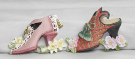 Victorian Ceramic Shoes Refrigerator Magnets 2 Lot #1523 - $6.11