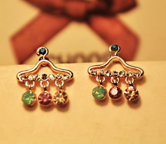 Primary image for Glitter Clothe Hanger Shape Studs with Colored Gems