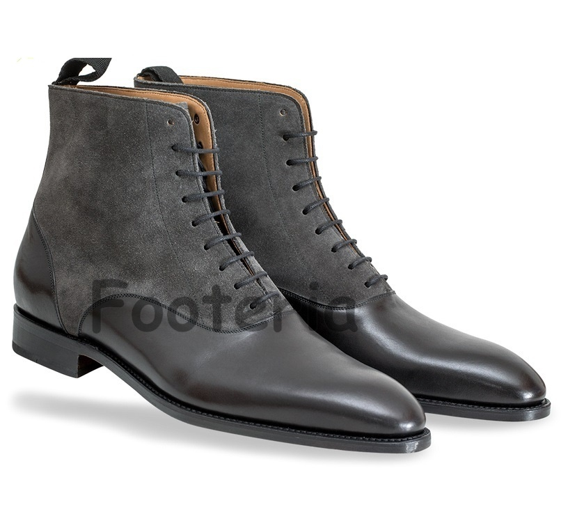 Mens Gray Leather Shoes
