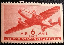 1941 6c Transport Plane, Carmine, Booklet Single Scott C25a Mint F/VF NH - $1.77