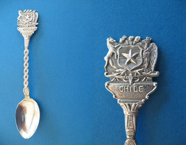 CHILE South America Souvenir Collector Spoon CHILEAN Coat Of Arms Collectible - $6.95
