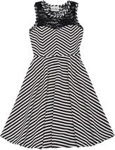 Big Girls Tween 7-16 Black White Mitered Stripe Illusion Lace Fit Flare Dress