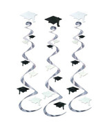 black / white graduation hat Hanging Swirls 3 danglers grad cap whirls 3... - $7.87