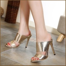 Embossed Gold Snakeskin PU Leather Fashion High Heel Stiletto Mule Slides image 1