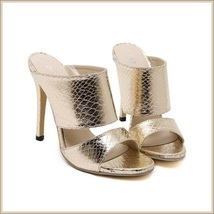 Embossed Gold Snakeskin PU Leather Fashion High Heel Stiletto Mule Slides image 2