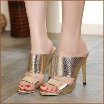 Embossed Gold Snakeskin PU Leather Fashion High Heel Stiletto Mule Slides image 3