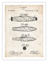 CIGAR INVENTION POSTER 1887 US PATENT PRINT 18X24 FARIAS SMOKE SMOKING H... - $19.97