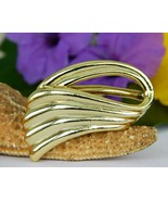Vintage Piscitelli Scarf Slide Scallop Wave Angel Wing Swirl Gold Tone - $14.95