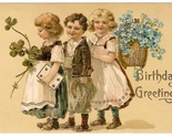 Birthday Greetings Postcard Children Forget Me Nots Horse Shoe Embossed Gilt