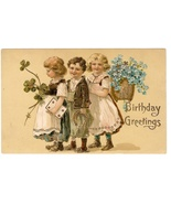 Birthday Greetings Postcard Children Forget Me Nots Horse Shoe Embossed Gilt - €9,23 EUR