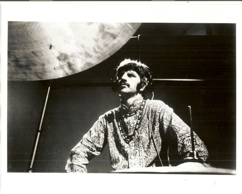 Beatles Fan Club B&W 8X10 Photo Ringo beneath cymbal